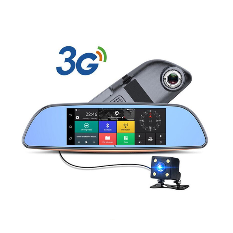 Camlive 3G Type Android 5 0 Car Dvrs Bluetooth GPS Navigation FM transmitter Dual Lens Rearview