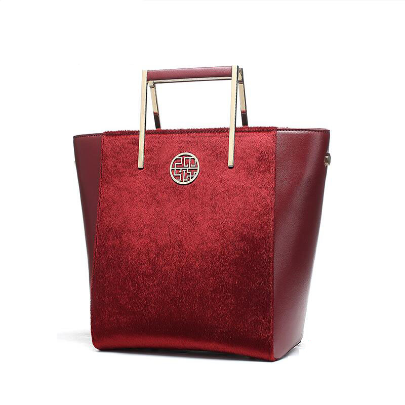 free delivery  Split Leather women bag   2017 new China style fashion handbag Plush Luxury exquisite Tote bag