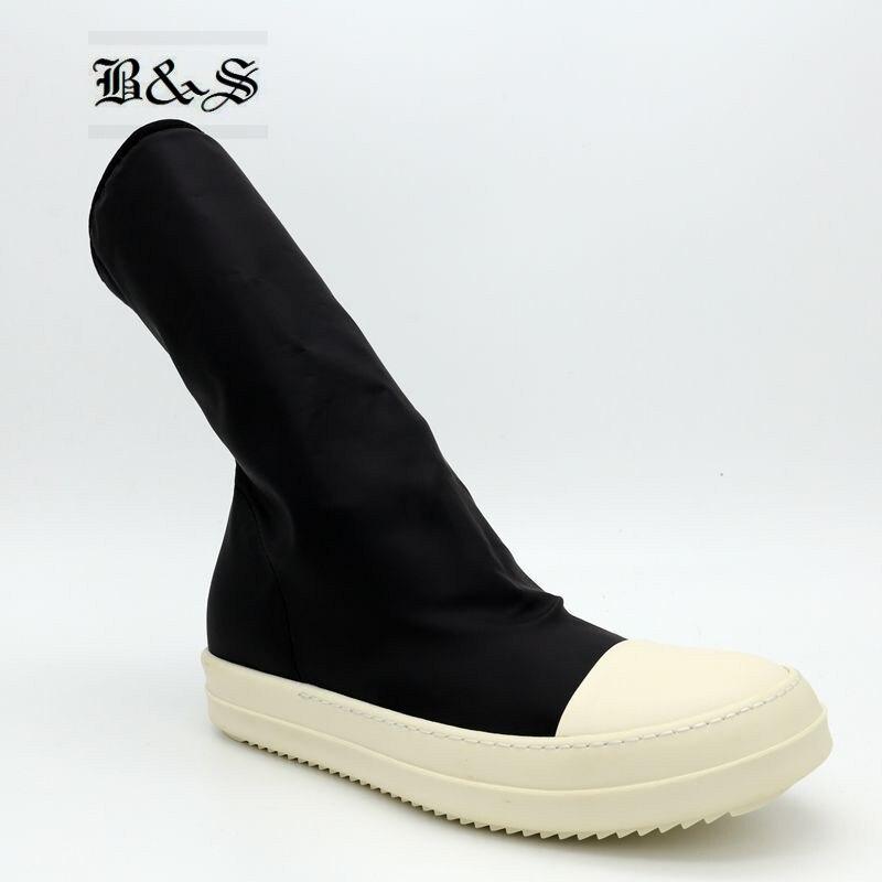 Black& Street Classic 2018 Women Street Stretch Fabric Slim Stovepipe Stretch Sock Boots Slip On Owen high Boots slip on winter boots stretch lycra