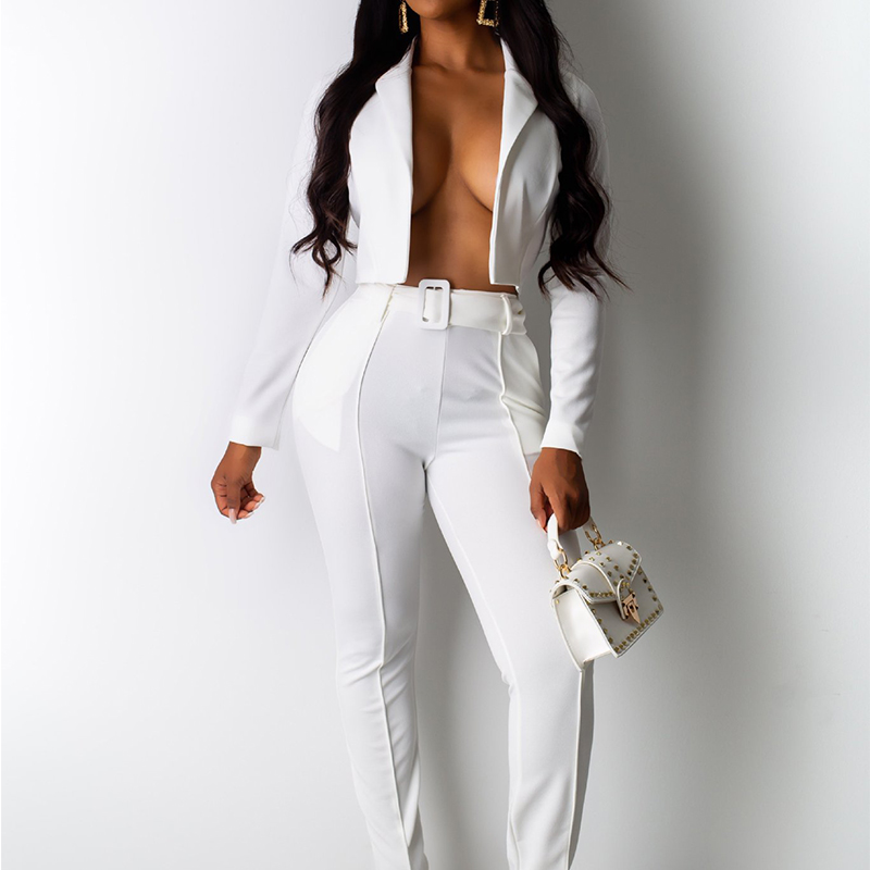 Solid White Sexy Pants Two Piece Outfits Full Sleeve Coat Casual Women Matching Sets Black Neon Green Club Rompers Fashion 2019