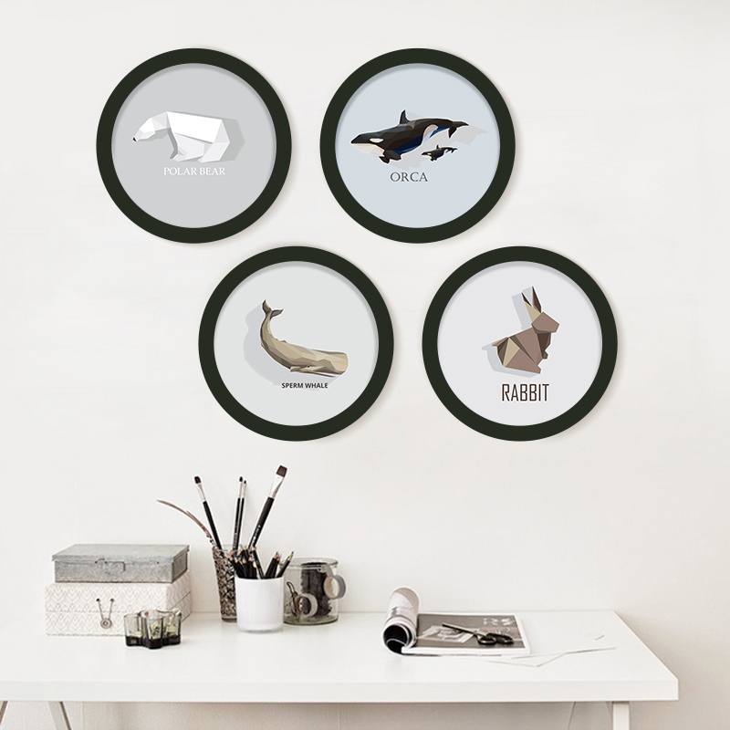 DIY Round Photo Frame Black and white picture frame Canvas Art Prints Poster Wall Picture living Painting Kids Room Decor in Painting Calligraphy from Home Garden