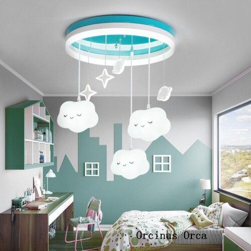 Cartoon Cute White Cloud Chandelier Girl Bedroom Children's Room Lamp Modern Simple LED Blue Aircraft Ceiling Lamp