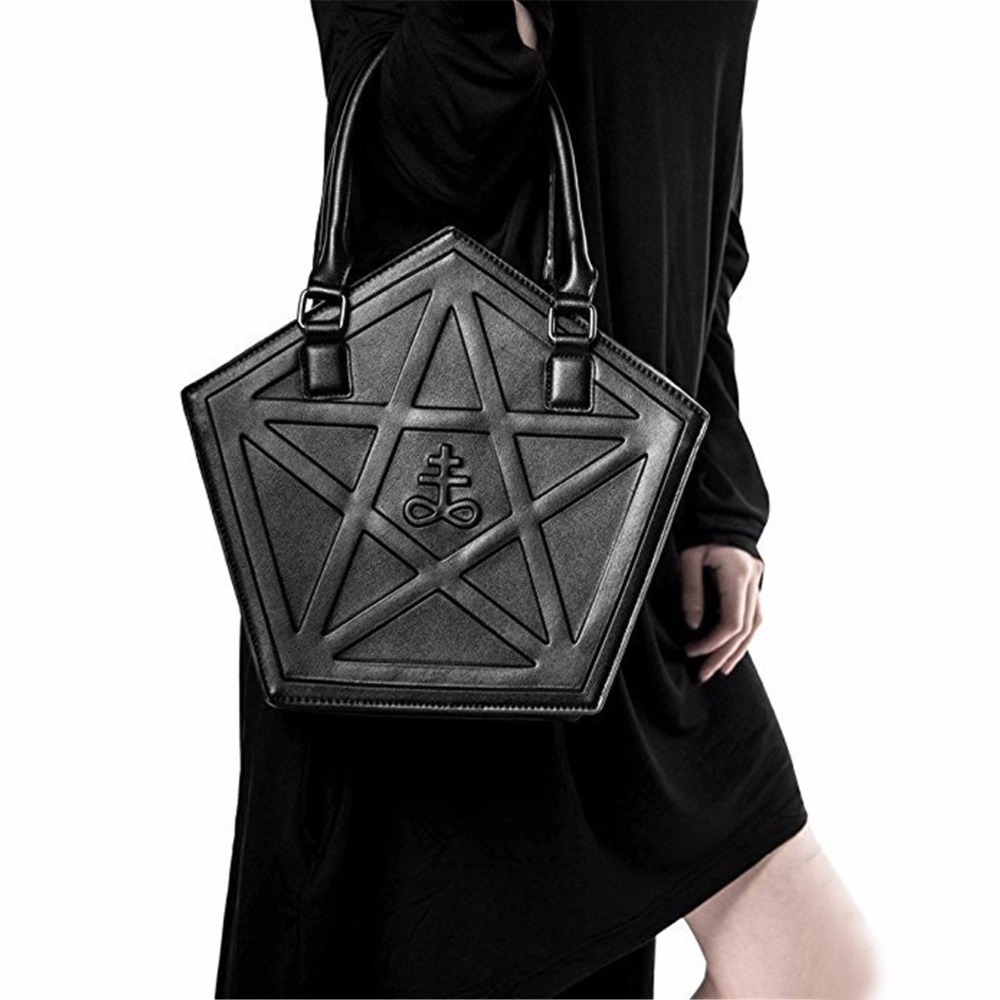 Pentagram Punk Darkness Gothic Bag Women Star Chain Shoulder Bags Girl PU Cross Body Messenger Bag Ladies Fashion Black Handbag 2017 new clutch steam punk female satchel handbag gothic women messenger bags shoulder bag bolsa shoulder bags tote bag clutches