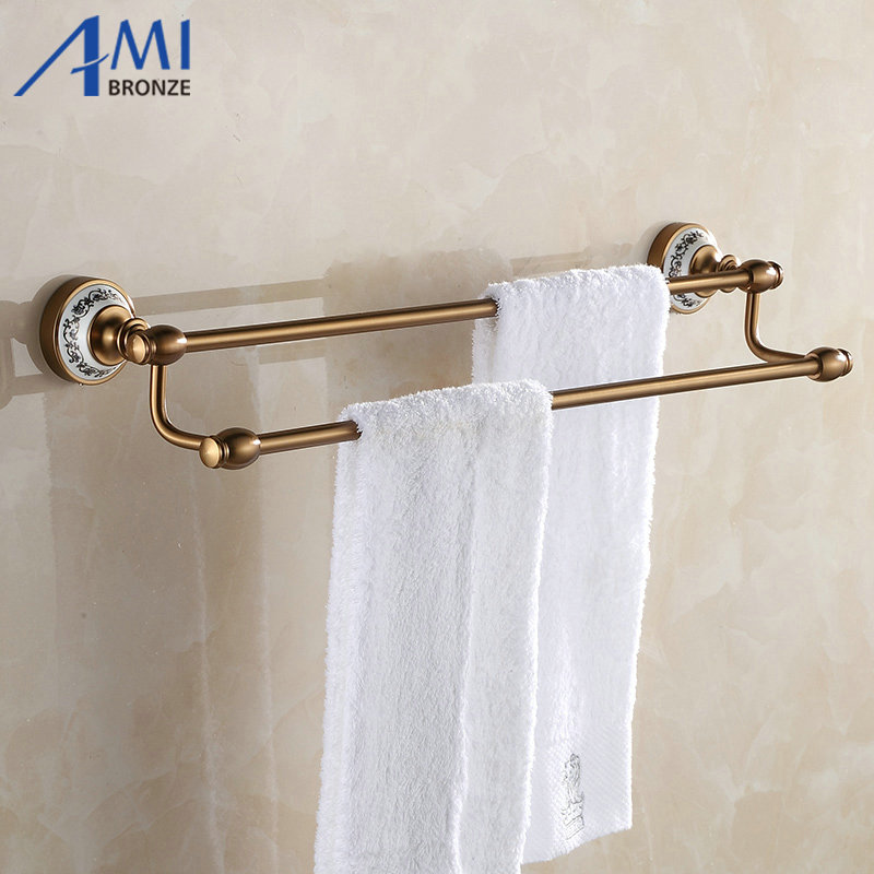 ФОТО 410AAP Series Antique Brush Aluminum Porcelain Base Wall Mounted Double Towel Bar Bathroom Accessories Towel Rack Towel Shelf