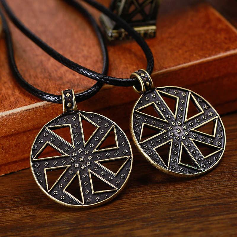 Słowiańskie Kolovrat wisiorki pogańskie amulety talizmany stary naszyjnik wisiorki Nordic etniczna biżuteria