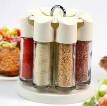Новый стиль кухонный инвентарь 360-градусный стекла приправы бутылки, канистры, барбекю для кухни, 8 бутылка + 1 столб
