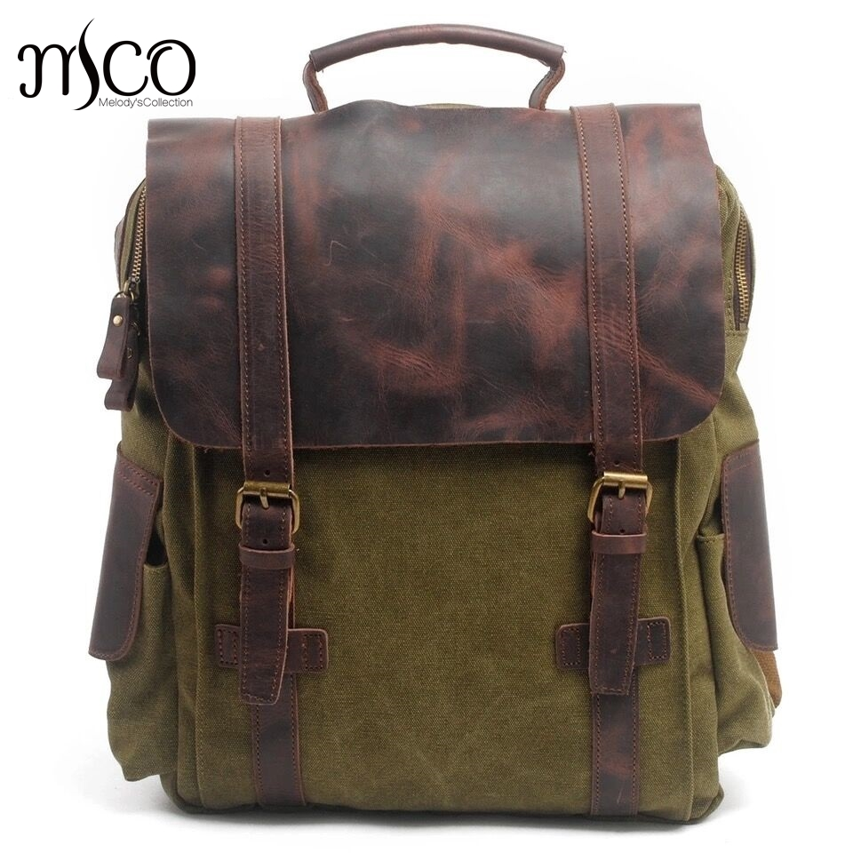 Фотография MCO Vintage Waxed Canvas Men Travel Backpack Durable Oiled Leather School Bags Classic Large Capacity Military Women Backpacks