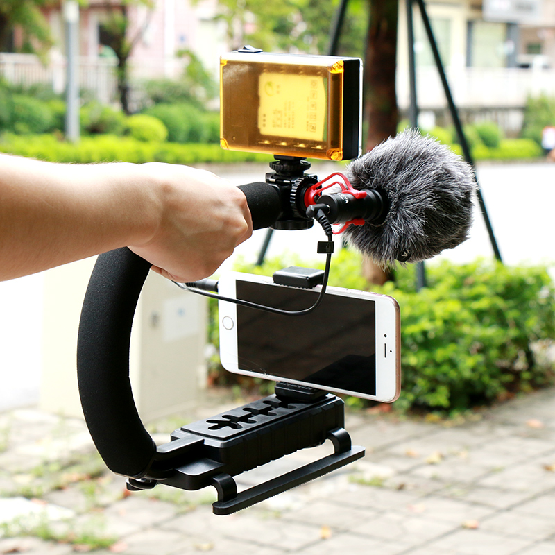Ulanzi Ulanzi U-Grip Video Stabilizer Video Handle Grip with 96 LED light and BY-MM1 for Camera Camcorder Dslr Video u grip video action stabilizing handle grip rig set with by mm1 videomicro phone led on camera light for iphone canon nikon