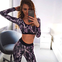 2016 New Women Tracksuits Sets Camouflage Fitness Sport Suits Sexy Women Costume Sets 2 Pieces Tops