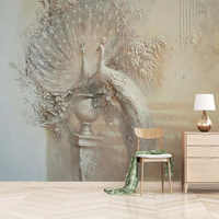 Wall Paper European Retro Embossed Peacock Photo Wallpaper For Living Room TV Background Wall Decor Mural Painting 3D Wall Cloth