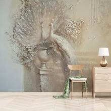 цена на Wall Paper European Retro Embossed Peacock Photo Wallpaper For Living Room TV Background Wall Decor Mural Painting 3D Wall Cloth