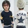 2016 Hot sale Size90 ~ 150 crianças camisetas para meninos tops t-shirt de manga longa infantil t camisas dos miúdos roupas estrela moda