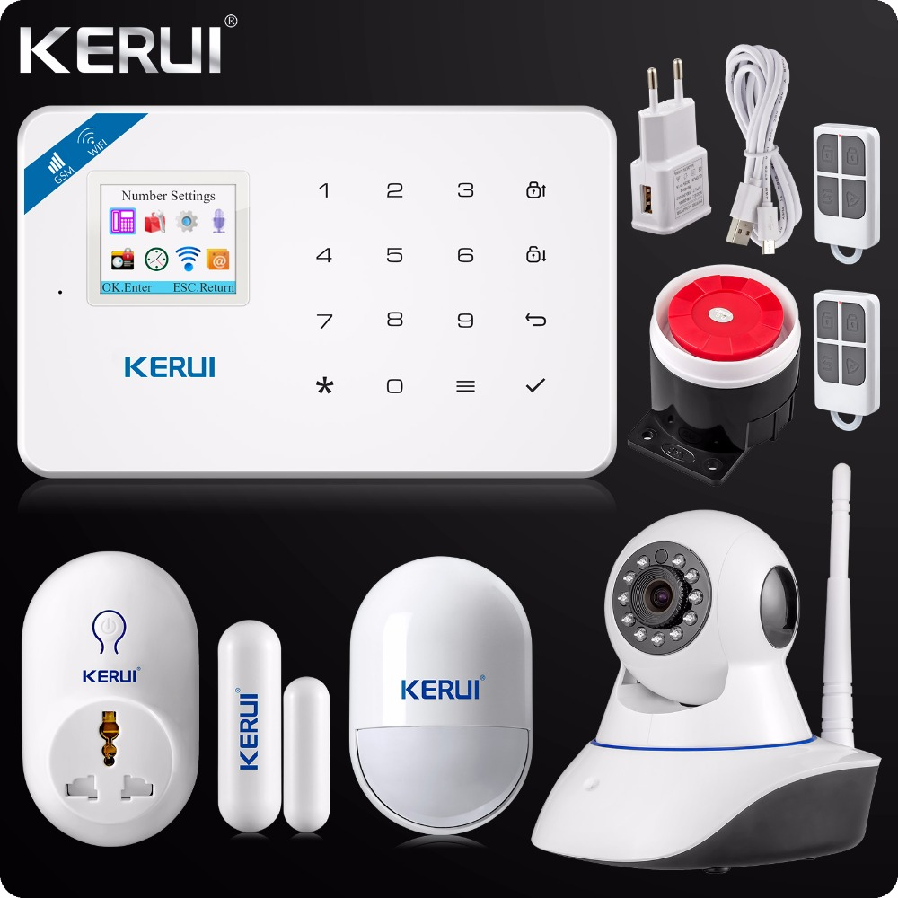 2018 KERUI W18 WIFI GSM SMS Home Burglar Security Alarm System Russian English Voice Wifi IP Camera 720P+Smart Socket kerui w18 wireless wifi gsm ios android app control lcd gsm sms burglar alarm system for home security russian english voice