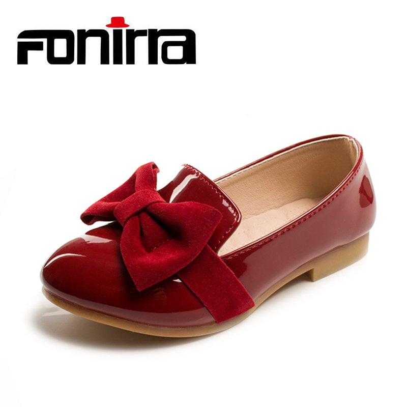 2017 Children's Flat Shoes Solid Party Dress Shoes Girls Patent Leather Kids Breathable Slip-on Bowknot Soft Bottom Shoes 194