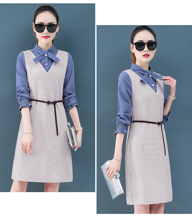 Render a dress in female new spring in the spring and autumn qiu dong fake two piece suit dress long 15