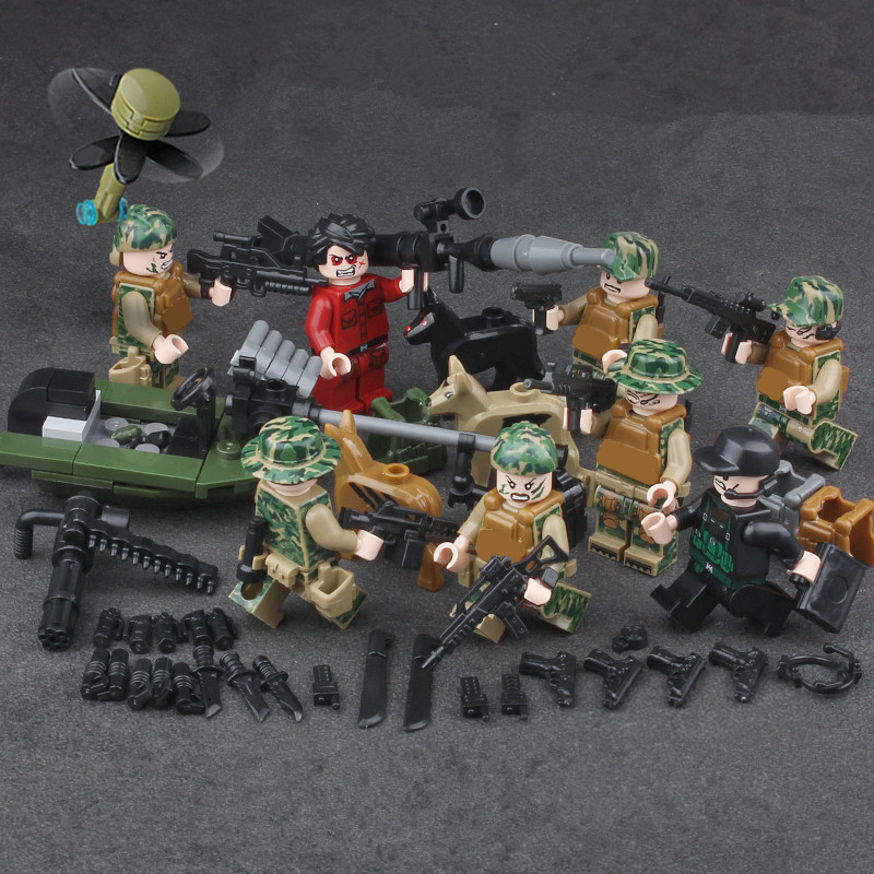 8pcs Mekong MILITARY Camouflage WW2 SWAT Soldier Army Building Blocks Bricks Figures Toys  Children Gift Compatible With Lego gudi 4 in 1 military soldier model building blocks toys for children army firewire swat action figure diy bricks gift 237pcs set