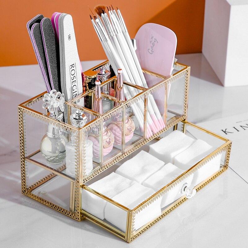 Porte-stylo de maquillage en verre doré porte-pinceaux boîte 6 grilles maquillage pinceaux boîte à stylo avec tiroir peut mettre boîte de distributeur B2264 - 2