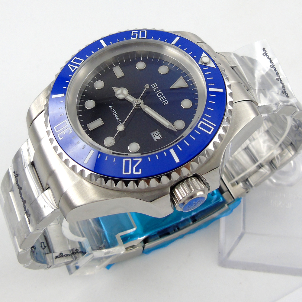 Bliger 44mm blue Sterile dial blue Ceramic Bezel automatic mens watch