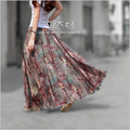 Pleated chiffon maxi skirt 2015 summer ankle-length bohemian floral print long skirts women vintage saia longa A-0067