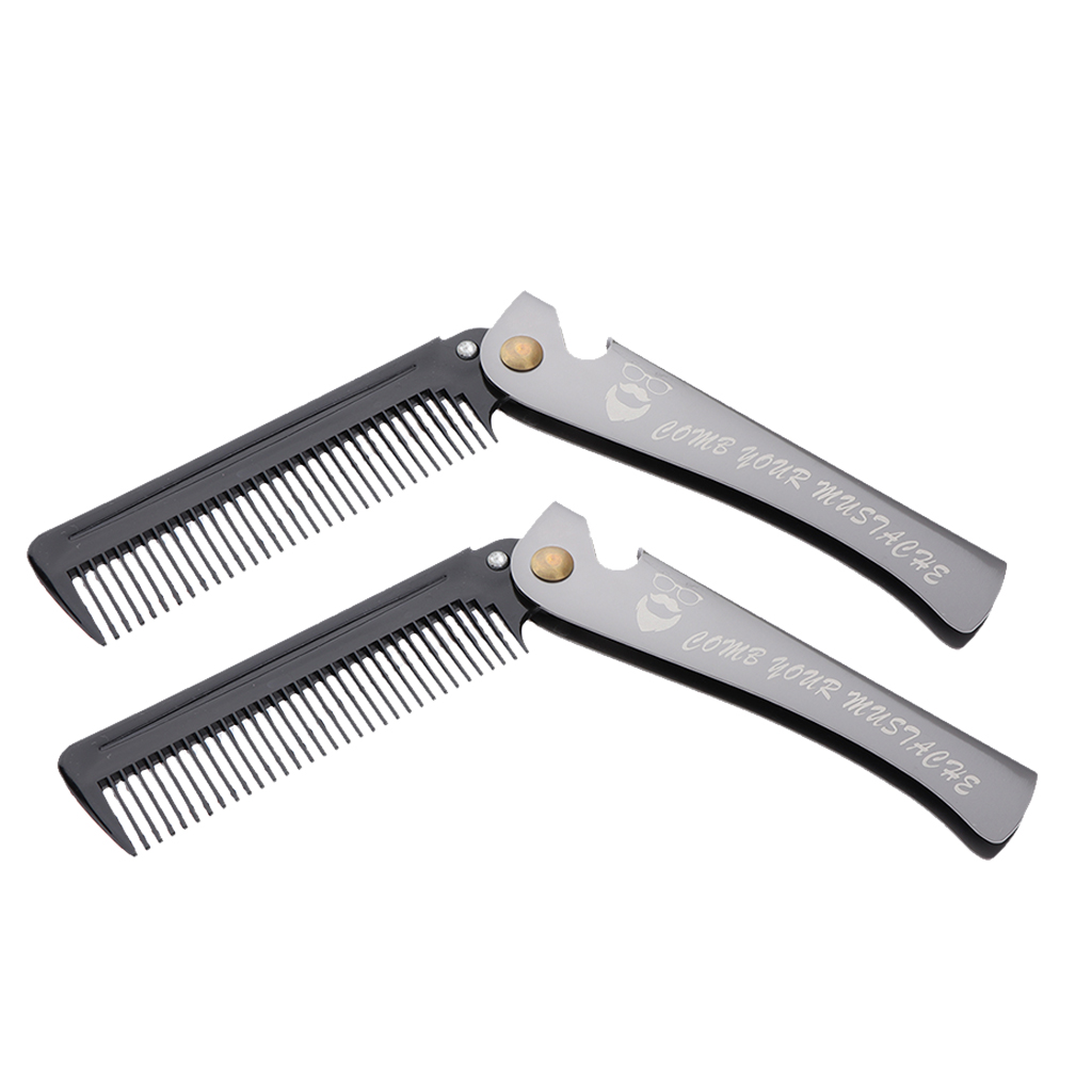 2pcs Pocket Hair Comb Folding Mustache Styling Grooming Comb Black