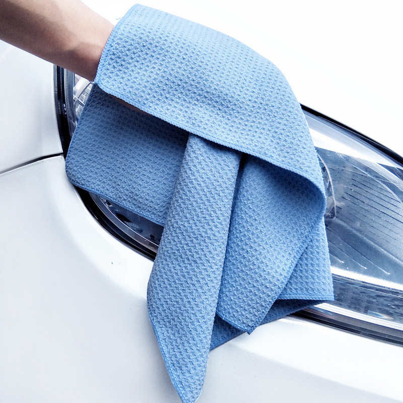 Car Microfiber Drying Towel With Waffle Weave Design  Car Cleaning Cloths Car Care Wax Polishing Detailing Towel Blue 40cm*45cm