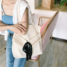 New literary fresh shoulder canvas bag Embroidery Fairy Casual student portable simple environmental