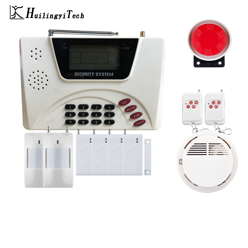 433MHZ Wireless GSM Alarm System Dual Antenna GSM Home Alarm Systems with PIR Detector Russian English Voice Security GSM Alarm