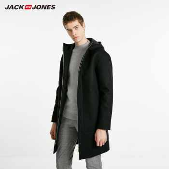 JackJones Men's Autumn Hooded Stand-up Collar Wool Long Coat Long Jacket Menswear 218427511 - DISCOUNT ITEM  45% OFF All Category