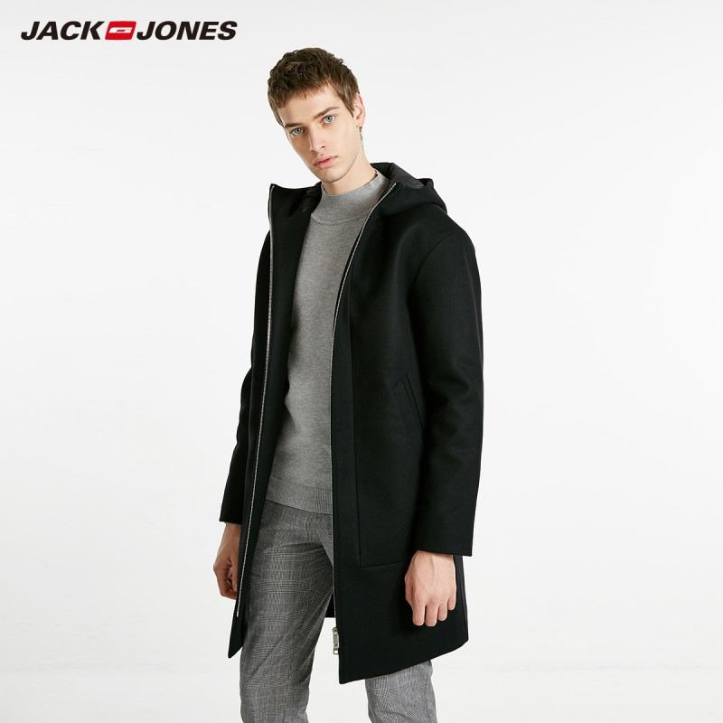 JackJones Men's Autumn Hooded Stand-up Collar Wool Long Coat Long Jacket Basic Menswear 218427511
