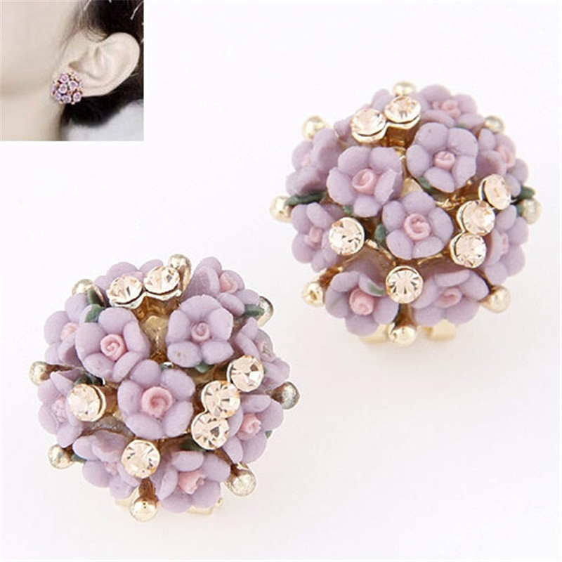 Mode Marke Schmuck Romantische Nette Strass Blume Ohr Stud Ohrringe Für Frauen Sommer Stil Kristall Ohrringe 2995