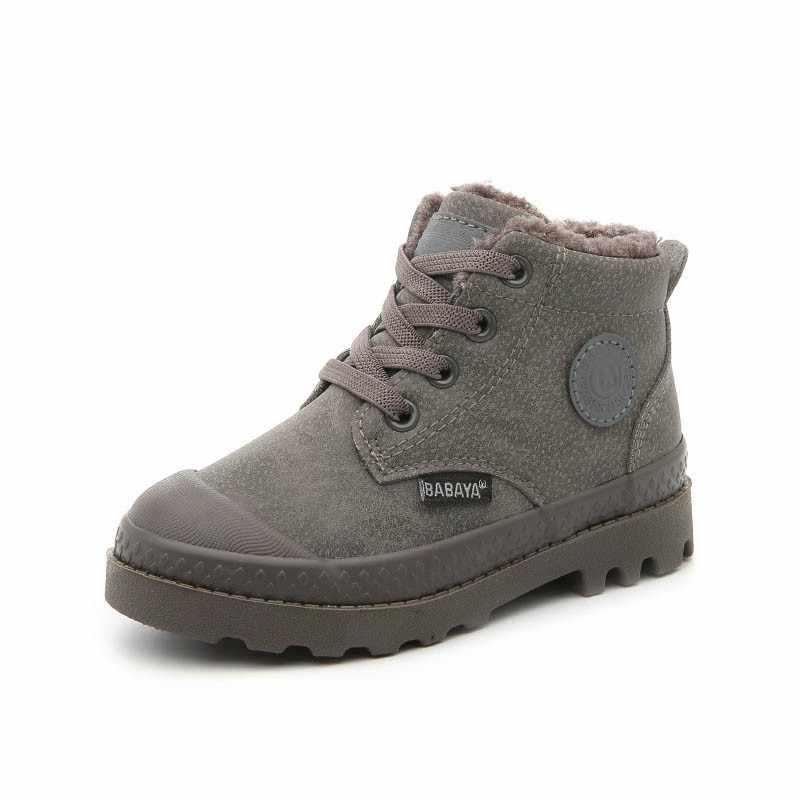 Çocuk Martin çizmeler yapay deri ayakkabı kızlar için 2018 kış yeni erkek çocuk çizmeleri sıcak kış ayakkabı tutmak Snowfield çizme