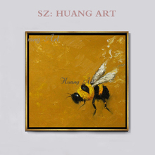 Hand painted oil painting yellow bee honey Animal modern simplicity Gallery hallway hanging mural