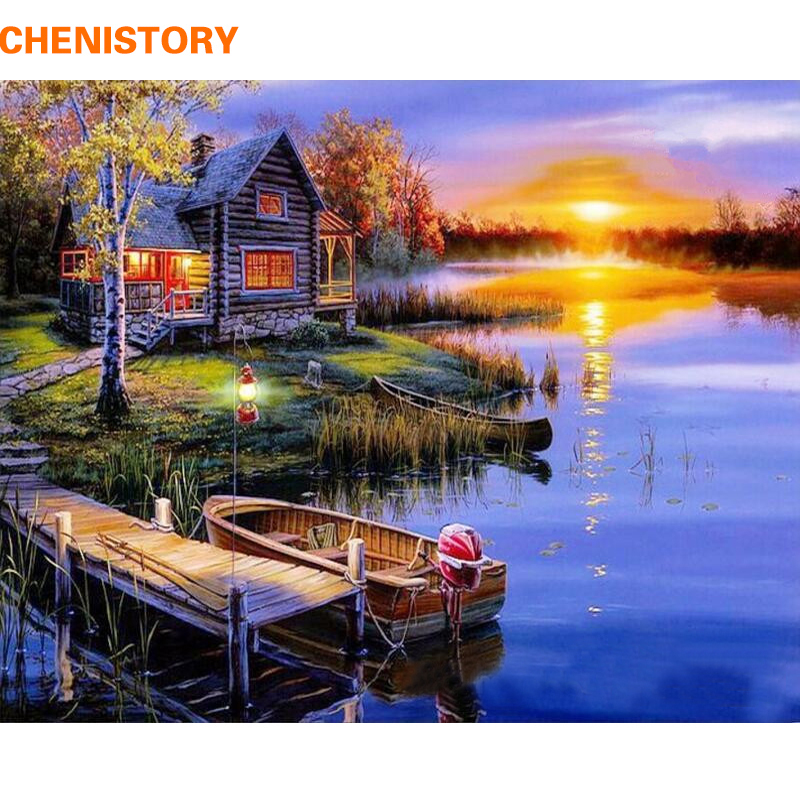 CHENISTORY Frameless DIY Painting By Numbers Landscape Painting Calligraphy Modern Wall Art Canvas Painting For Home Decor Gift