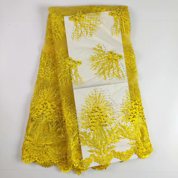 New Wedding Dress Beaded And Stones Lace Fabric, Nigerian Lace Fabric For Dress, Yellow Lace Fabric High Quality French Lace WHF