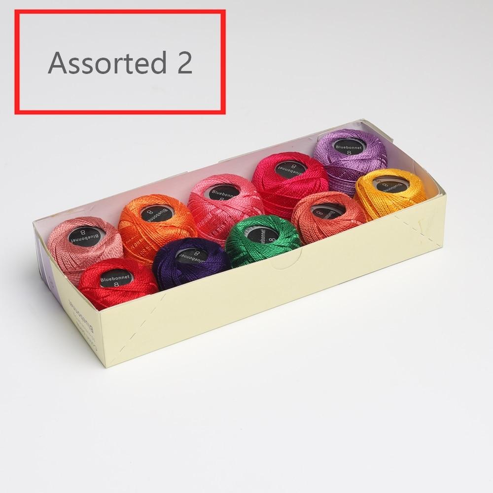 10 цветов в наборе, 5 грамм, размер 8, жемчужная хлопковая вышивка, нить для рукоделия, двойная мерсеризованная египетская длинная Штапельная ткань