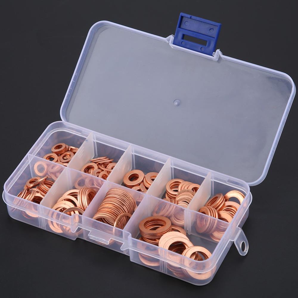 200pcs Copper Washer Gasket Nut Bolt Flat Ring Seal Assortment Kit M5 /M6/M8/M10/ M12/ M14 With Box For Hardware Accessories200pcs Copper Washer Gasket Nut Bolt Flat Ring Seal Assortment Kit M5 /M6/M8/M10/ M12/ M14 With Box For Hardware Accessories