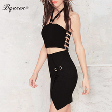 Solid Black Spaghetti Strap Backless Halter 2 Piece Set Bandage Dress