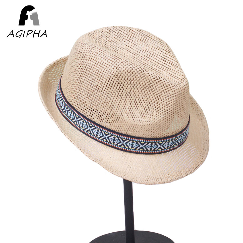 Panama Style Straw Hat For Women Men Casual Summer Bucket Paper Sun Caps  Unisex Solid Curved Brim Fedora Type AG34 2018 06f87936337
