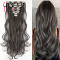 Grey Clip in Human Hair Extensions 120g/set Peruvian Human Hair Clip In Extensions 7pcs/set  Wavy Remy Human Hair Clip In BY214