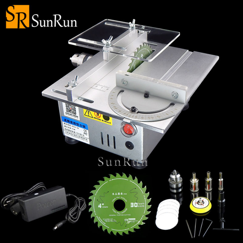 Multifunctional Mini Table Saw Handmade Woodworking Bench Lathe Electric Polisher Grinder DIY Model Cutting Saw B12