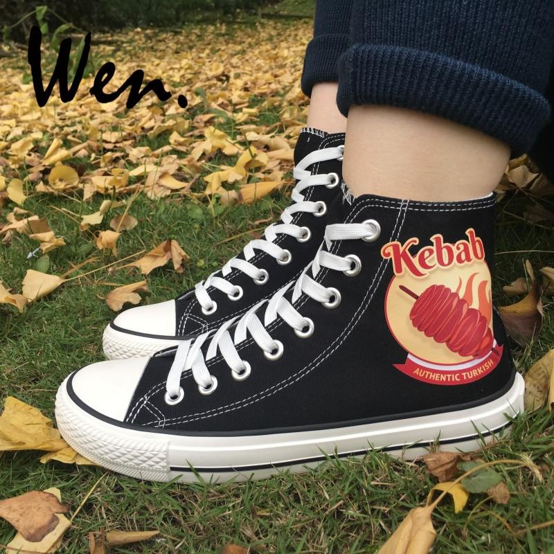b1b20c9a5c8e51 Wen Design haut noir Plimsolls Kebab toile hommes femmes baskets garçon  fille chaussures à lacets plate forme Espadrilles plates dans Planche à  roulettes ...