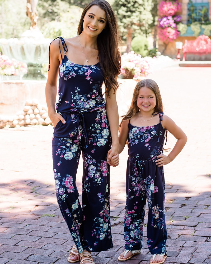 overall suits mother daughter pants dress family look