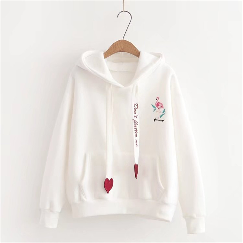 Fashion Women 39 s Sweatshirt Winter New Thicken Plus Velvet Embroidery Hoodies Loose Pullovers Loose Thin Drawstring Hooded in Hoodies amp Sweatshirts from Women 39 s Clothing