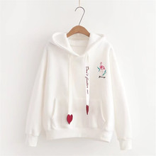 Fashion Womens Sweatshirt Winter New Thicken Plus Velvet Embroidery Hoodies Loose Pullovers Thin Drawstring Hooded