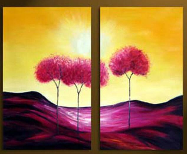 Hand painted abstract home decor wall art picture landscape yellow ...