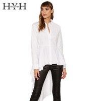 HYH HAOYIHUI Solid White Women Blouse Long Sleeves Dovetail Elegant Vintage Shirt Turn Down Collar Streetwear