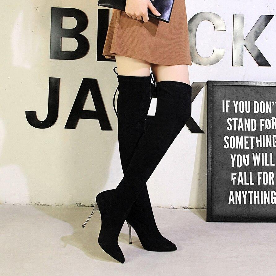 b8e748d5e7781 Negro Largas Moda Rebaño Invierno Dedo Tacones Mujeres Plush La Sobre Mujer  Sexy Largo black Zapatos Altos Del Pie Femenina Botas Bigtree Punta Plus  Rodilla ...