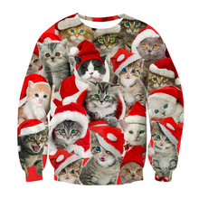 Alisister Fashion Santasaurus/cat Pizza/Carlton Sweatshirt Printed Merry Christmas Sweatshirt Women/men Harajuku 3d Sweatshirt