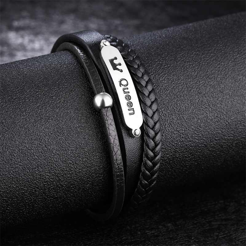 AZIZ BEKKAOUI Queen bransoletki ze stali nierdzewnej z koroną magnes wielowarstwowa bransoletka ze skóry bydlęcej dla mężczyzn punkowa skórzana bransoletka