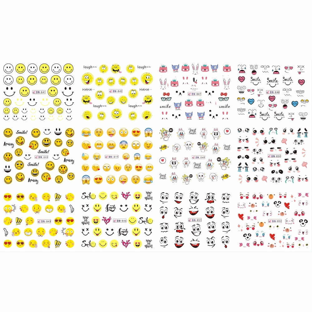 12 PACK/ LOT WATER DECAL NAIL ART NAIL STICKER FULL COVER FACIAL EXPRESSION FUNNY SMILING FACES COOKIES BN841-852